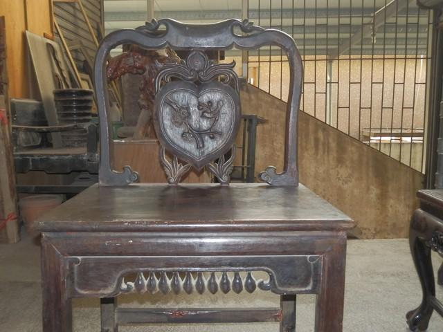 其它品种大卖场 古玩竹木雕漆器 → 民国福禄寿坤甸靠背椅一套三张