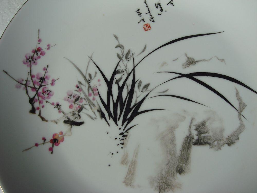 高手绘画,兰花图纹盘.