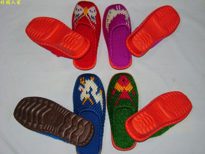 毛线拖鞋/纯手工编织/可爱图案/居家鞋/保暖拖鞋/结婚