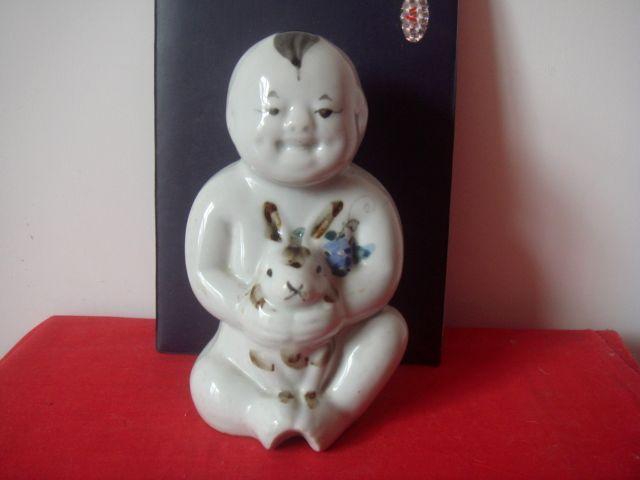 民国-----醴陵釉下三彩兔生肖娃娃瓷塑