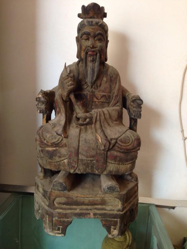 其它品种大卖场 古玩竹木雕漆器 → 晚清樟木造像 张天师   高60cm 重