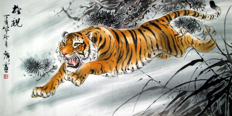 壁纸 动物 国画 虎 老虎 桌面 750_374
