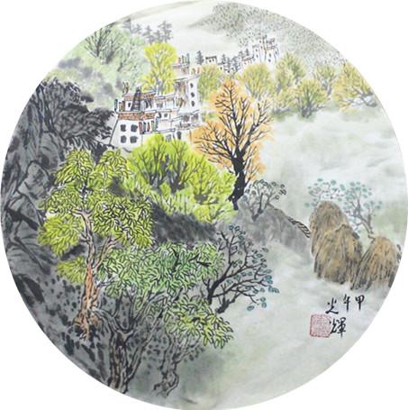 【【【售】】】近期几幅国画山水小品   宣纸画心,未装裱,圆形小品