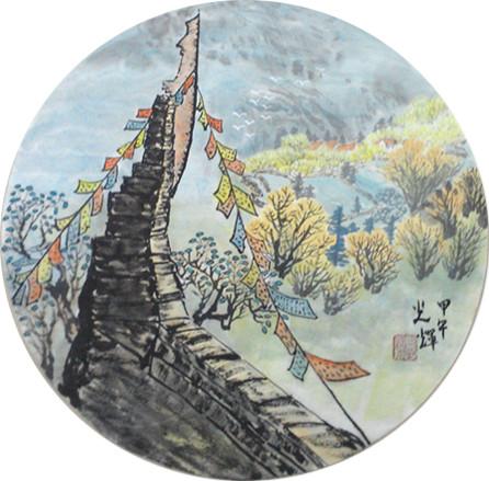 字画 →【【【售】】】近期几幅国画山水小品   宣纸画心,未装裱,圆形