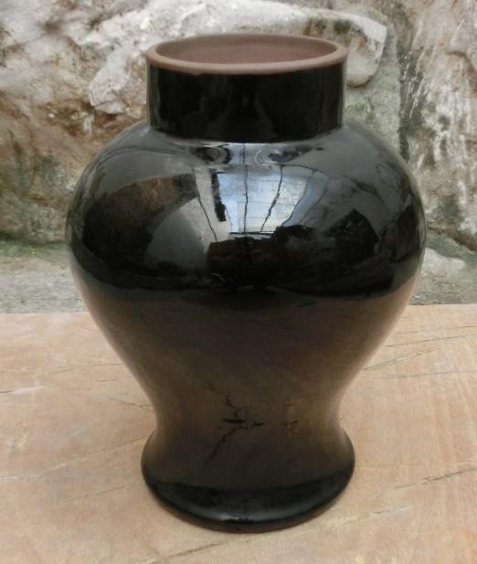 杂件藏品 七 八十年代 紫砂胎底 实用赏玩 宜兴黑釉紫砂花瓶