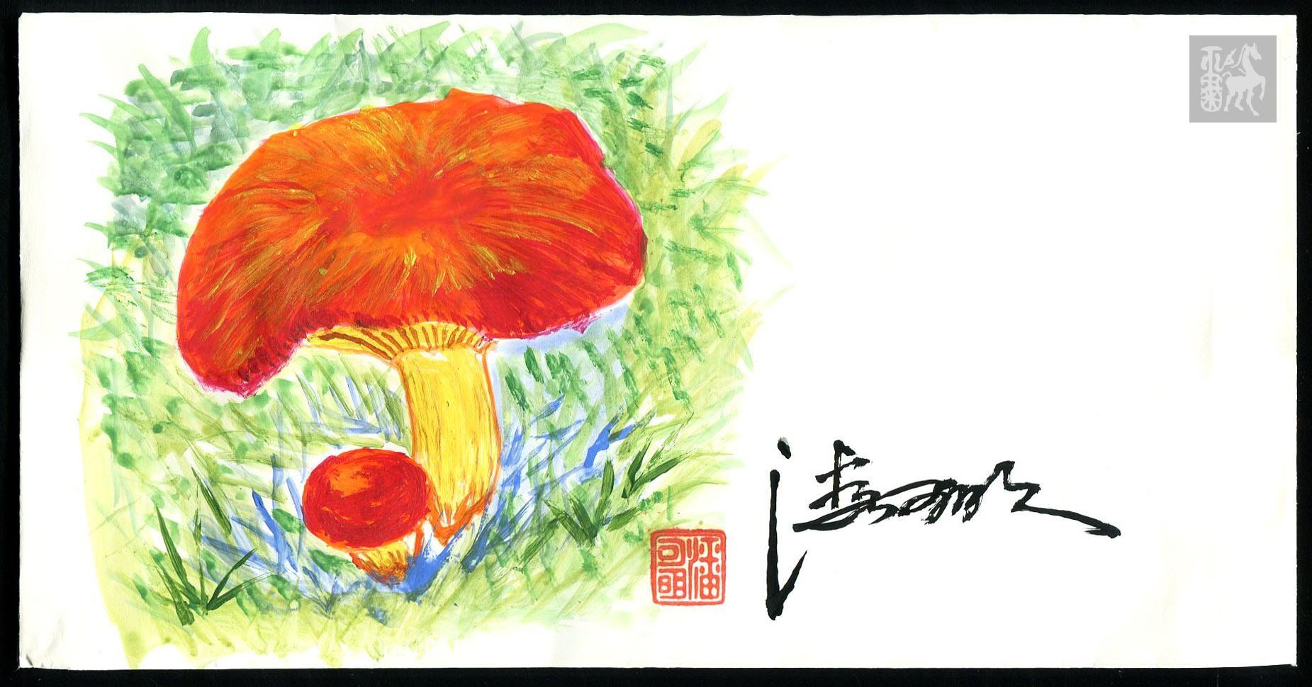精品手绘封:邮票设计家潘可的明食用菌
